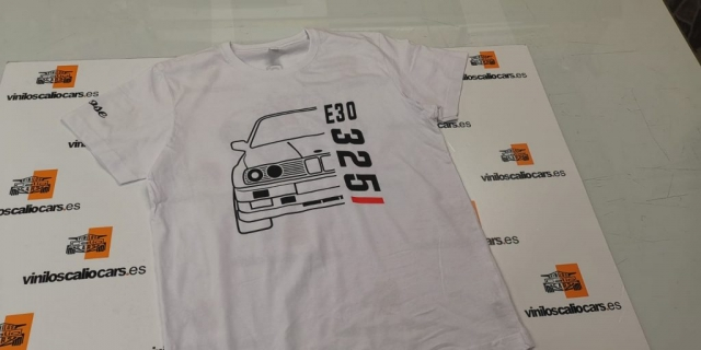 CAMISETA BMW E30 325I PERSONALIZADA VINILOS CALIO CARS LOJA GRANADA