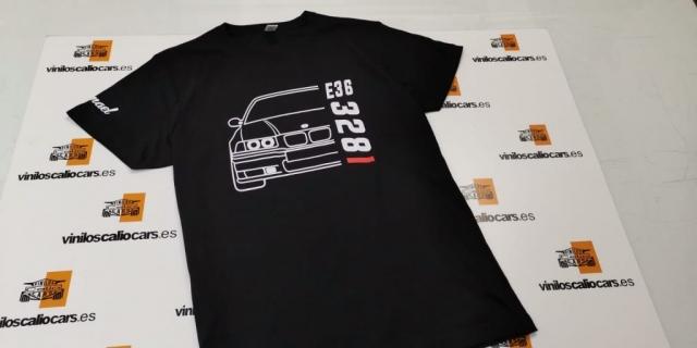 CAMISETA BMW E36 328I PERSONALIZADA VINILOS CALIO CARS LOJA GRANADA