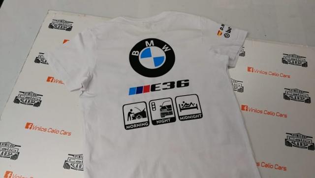 CAMISETA BMW E36 PERSONALIZADA VINILOS CALIO CARS LOJA GRANADA