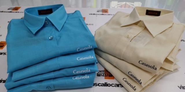 CAMISA LABORAL PERSONALIZADA REPOSTERIA LOJEÑA CASASOLA VINILOS CALIO CARS LOJA GRANADA