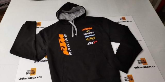 SUDADERA MOTOS KTM RACING PERSONALIZADA VINILOS CALIO CARS LOJA GRANADA