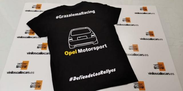 CAMISETA OPEL MOTORSPORT DEFIENDE LOS RALLYES GRAZALEMA RACING VINILOS CALIO CARS LOJA GRANADA