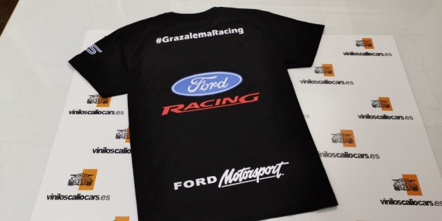 CAMISETA FORD RACING MOTORSPORT PERSONALIZADA VINILOS CALIO CARS LOJA GRANADA
